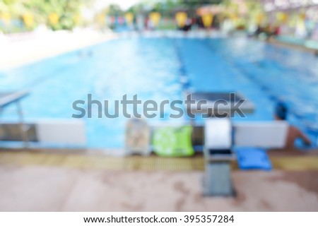 image blur of children in swimming pool