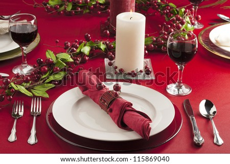 Image christmas dinner table - stock photo