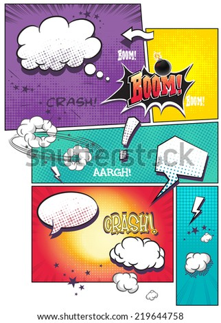 Image comic book pages with different speech bubbles for text, as well as various sounds on a colored background - stock photo
