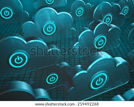 Image concept of cloud computing. Power button on the cloud. - stock photo