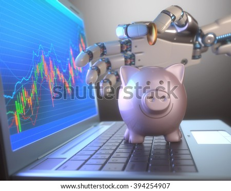Image concept of software (Robot Trading System) used in the stock market that automatically submits trades to an exchange without any human interventions.