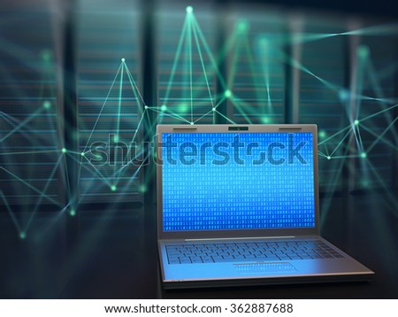 Image concept of technology and science of digital information. One laptop in front of multiple servers with binary numbers on screen.
