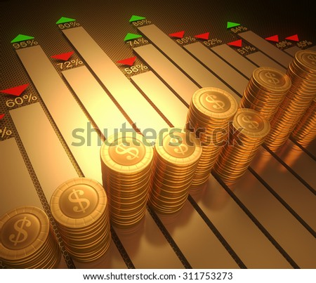 Image concept stylized graphic of the stock market. Clipping path on the coins.