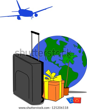 Image containing traveling motives such as suitcase, jet, gift, palm tree, globe and passports.