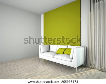 Image couch in the room 3D rendering