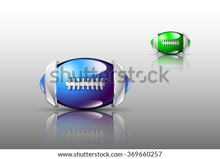 Image design. Abstract balls of football with silver elements on the glossy field. Blue and green tones.