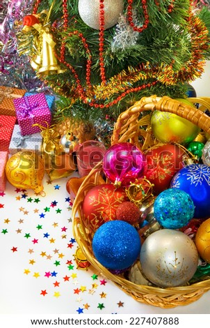 Image different Christmas decorations in basket - stock photo