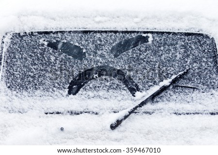 Image emotions of anger from snow glass - stock photo
