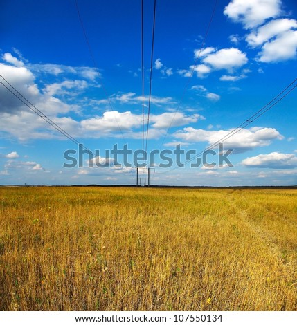 Image fields and power lines under the sky