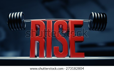 "Image for weight lifting inspiration. Red ""RISE"" text lifting heavy barbell. - stock photo"