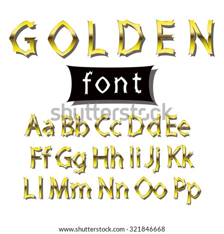 Image golden font. Collection of alphabet symbols. - stock photo