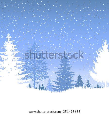 Image  landscape. Eco banner. Winter. It is snowing.