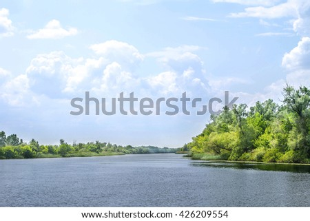 image landscape river Dnieper marshes and Kherson