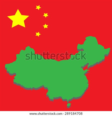 image map of China on the background of the national flag - stock photo