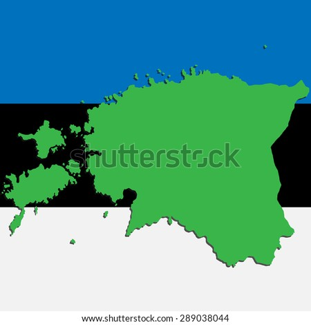 image map of Estonia on the background of the national flag - stock photo