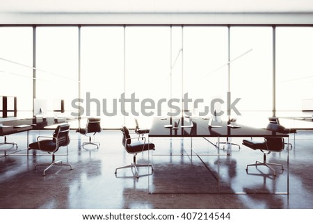 Image modern workspace loft with panoramic windows.Generic design computers and generic white furniture in contemporary conference room.Open space office for coworking. Horizontal. 3d rendering