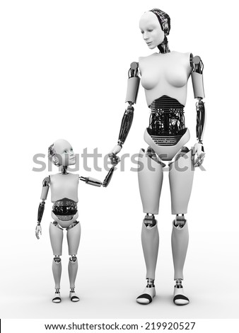 Image number two of robot woman holding hand with her robot child. White background.
