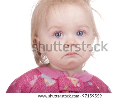 Image of a baby pouting.