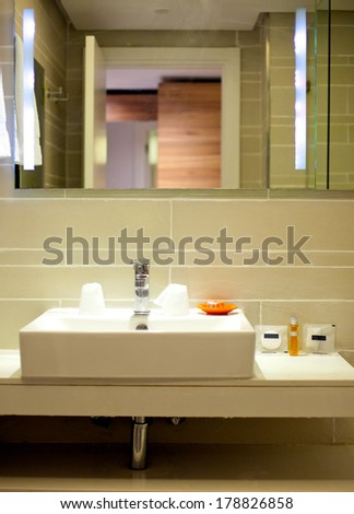 image of a bathroom in the hotel - stock photo
