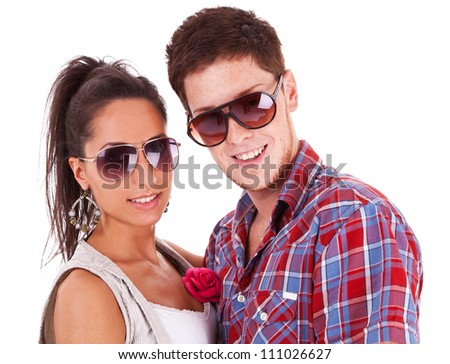 Image of a beautiful casual couple shot in studio