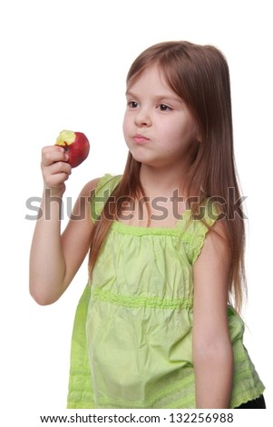 Image of a beautiful child with apples on white background