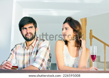 Image of a beautiful young couple flirting