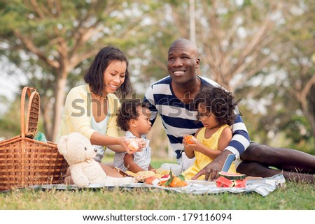 Image of a big family picnicking together in the park  - stock photo