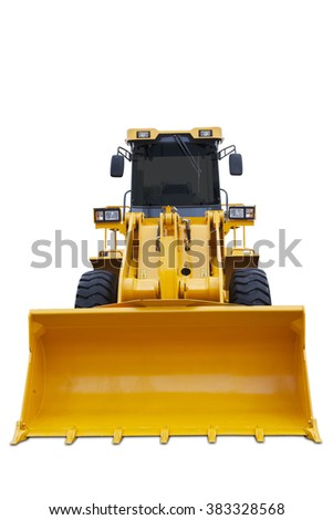 Image of a big scoop of modern bulldozer with yellow color, isolated on white background
