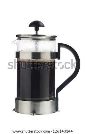 image of a black coffee pot isolated on white background. - stock photo
