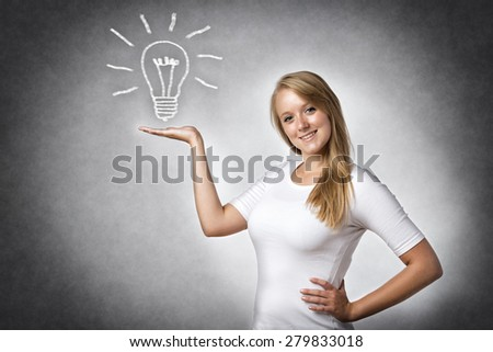 Image of a blond creative woman with an illustrated bulb