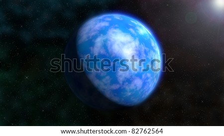 Image of a blue earth-like planet against a background of stars.