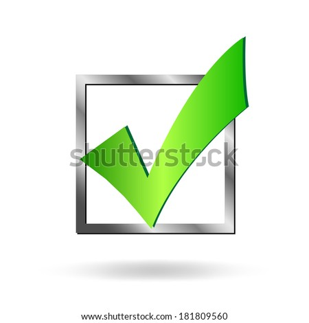Image of a box being checked by a green check mark isolated on a white background. - stock photo