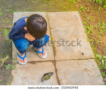 image of a boy playing and exploring alive butterfly in garden. - stock photo