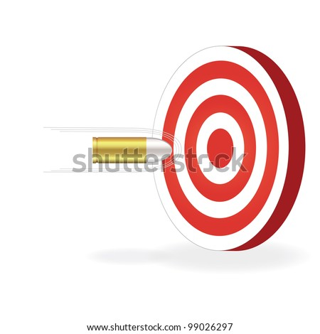 Image of a bullet about to hit a target isolated on a white background.