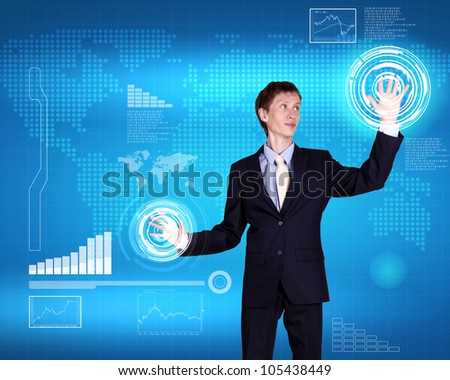 Image of a business person and technology related background
