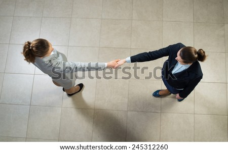 image of a business woman shaking hands, business meeting - stock photo