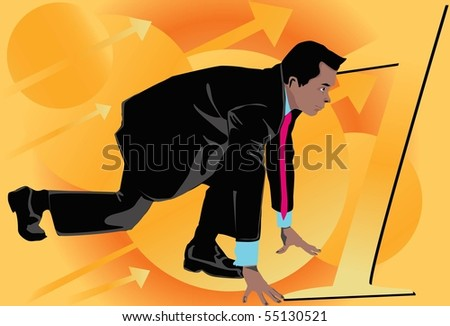 Image of a businessman who is running toward the goal - stock photo