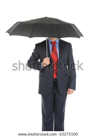 Image of a businessman with umbrella. Isolated on white background - stock photo