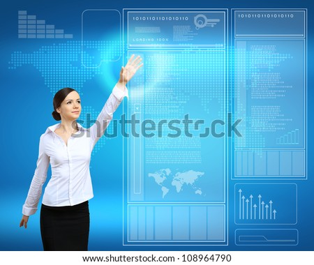 Image of a businesswoman and technology related background - stock photo