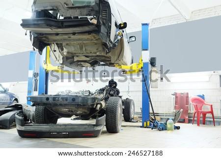 Image of a car repair garage - stock photo
