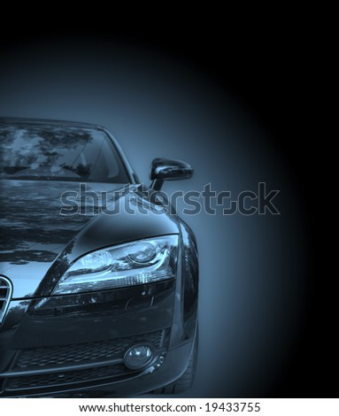 Image of a car viewed from the front isolated - stock photo
