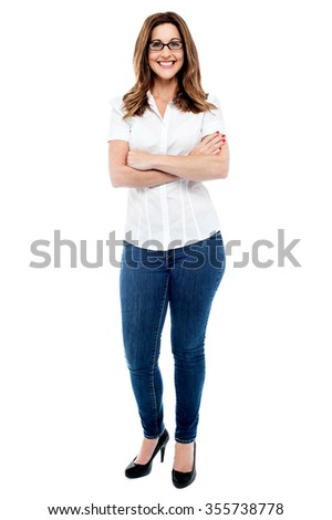 Image of a Casual woman posing with crossed arms - stock photo