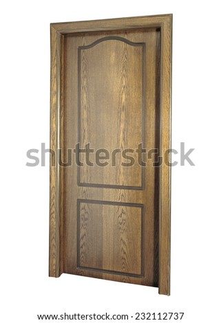 Image of a closed door, isolated on white background