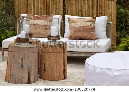 Image of a cozy seating area in the garden. - stock photo