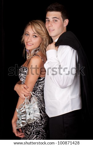 Image of a cute couple dressed up very nice. - stock photo