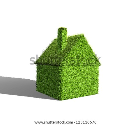 Image of a 3D house made of green grass. - stock photo