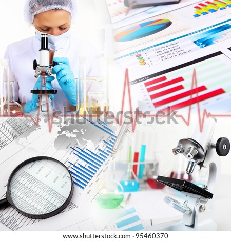 Image of a doctor working in labortory and different scientific equipment
