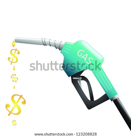 Image of a gas pump with dollar signs depicting fuel isolated on a white background. - stock photo