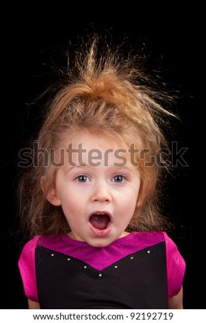 Image of a girl that is in shock. - stock photo