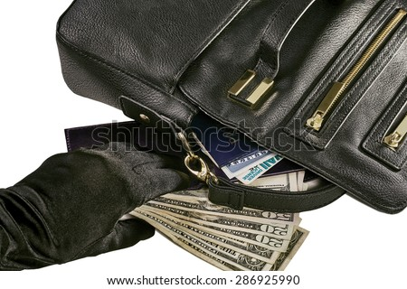Image of a gloved hand reaching for money and a wallet revealing a passport, social security card and driver license with a black purse isolated on white - stock photo